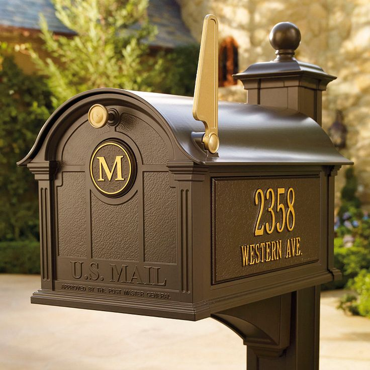 Our Personalized Balmoral Mailbox is so impressive, you be proud to display this curbside accessory in front of your home. The oversized mailbox is constructed in thick cast aluminum with a strong, magnetic closure on the hinged door creating a watertight seal. Magazines lay flat in the generous interior Personalize the panels with your address on both sides and an optional single-initial monogram on the door Die-cast...
