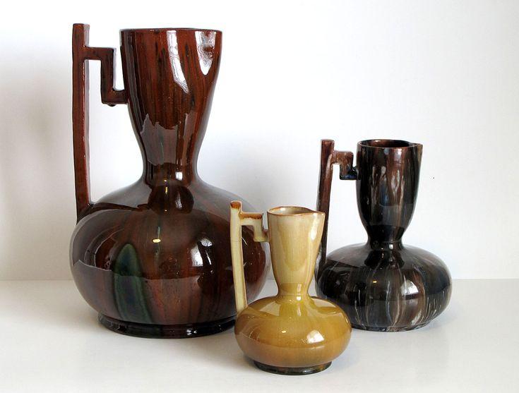 Three Clément Massier Glazed Earthenware Pitchers