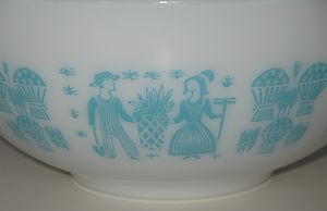 Mama had mixing bowls like these. Vintage Pyrex white mixing bowl with a turquoise or robin's egg blue pattern known as Butterprint. Listed at $39.96 on eBay with free US & Canadian shipping. #pyrex #bowls
