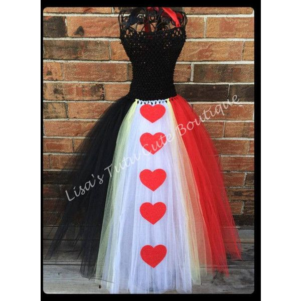 Full length Heart Queen tutu dress. Queen of hearts. Halloween... ❤ liked on Polyvore featuring costumes, black halloween costumes, alice in wonderland halloween costumes, heart costume, red queen costume and black costume