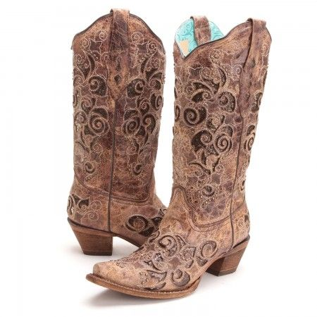 PFIs BootDaddy Collection with Corral Womens Glitter Inlay Snip Toe Cowboy Boots Brown