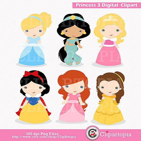 Princess 3 Digital Clipart / Cute Princess Clip Art / Fairytale Princess Digital Clipart For Personal and Commercial Use / INSTANT DOWNLOAD