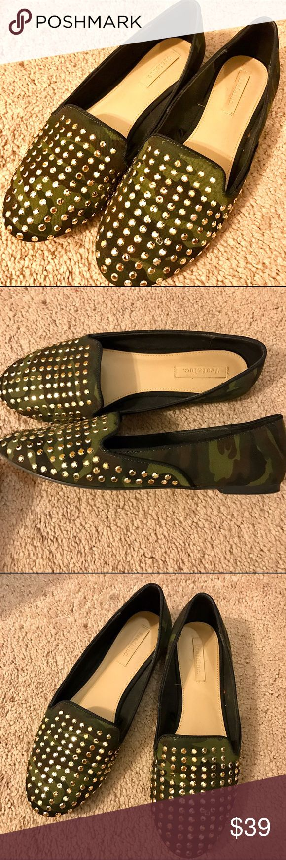 Zara Green Army Camo Print Studded Flats 7.5 Green army camo printed flats with rose gold studs from Zara in size 7.5, worn once. Zara Shoes Flats & Loafers