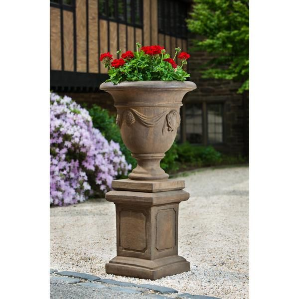 Tivoli Urn Garden Planter With Large Square Frame Garden Pedestal Not Included Outdoor Art Pros 19세기