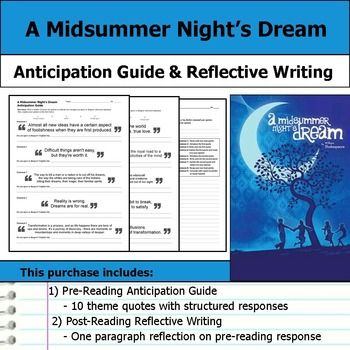 a midsummer nights dream journal essay Analysis on a midsummer night's dream by william shakespeare essay - like any religious society of the past, life in elizabethan england was ordered based on the great chain of being.