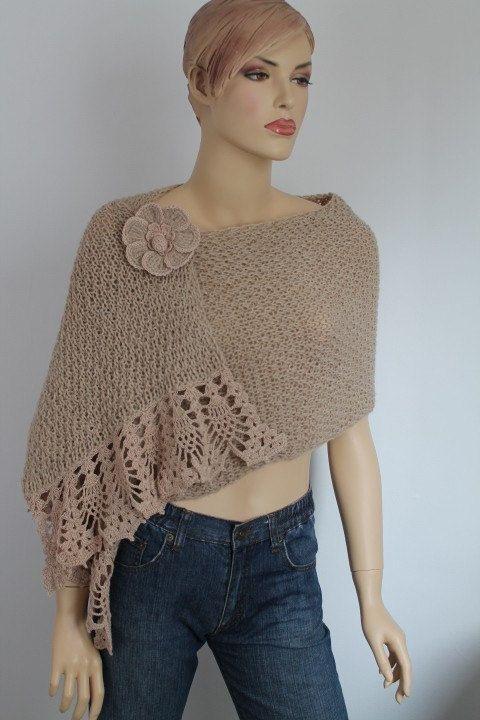 Alpaca color Beige claro mano Tejer Crochet Shawl por levintovich