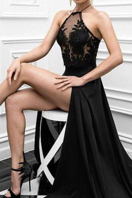 Elegant Black Prom Party Dress, Sexy Slit Long Formal Evening Dresses 2017 OK121