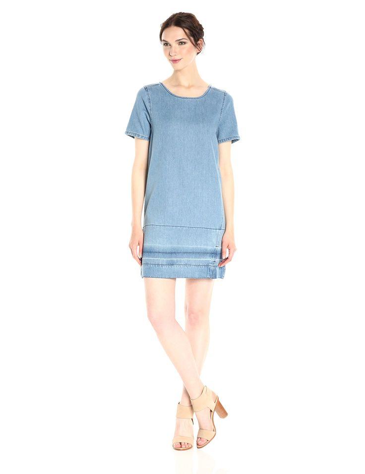 Calvin Klein Jeans Women's Denim T-Shirt Dress Hem, Lara Let Down M, X-SMALL