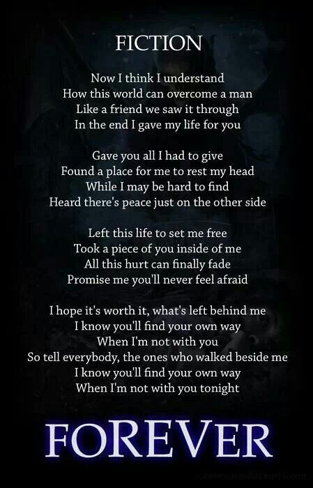 Fiction lyrics RIP Jimmy #avenged sevenfold The last song that the Rev wrote a few days before he died.