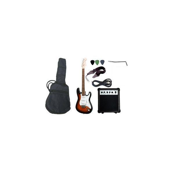 Pack Guitarra Eléctrica Sunburs ,132.990    Tipo: Guitarra eléctrica con 3 Pick Ups, única bobina, palanca de vibrato, volumen y 2 tonos.  Incluye: Bolsa con tirantes, afinador electrónico, pack de cuerdas de repuesto, amplificador de 15 watts, correa para el hombro.  Color: Sunburst