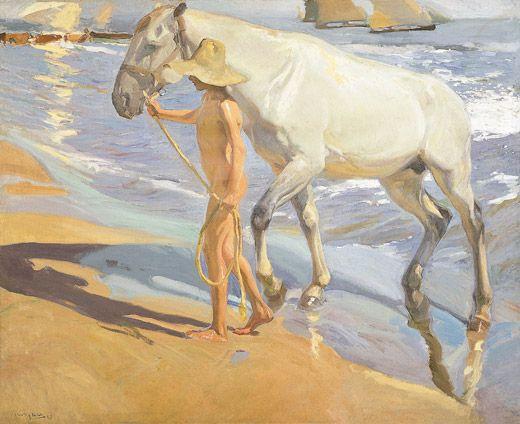 Joaquín Sorolla, El baño del caballo Óleo sobre lienzo, 205 x 250 cm. 1909. Madrid, Museo Sorolla