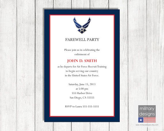 Air Force Farewell Invitation
