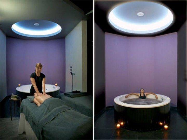 Interior Superb Modern Private Room Spa Design Interior Designer Bathrooms With Round Japanese Jacuzzi Bathtub Ideas 720x539 Elegant Interior Spa House Designing