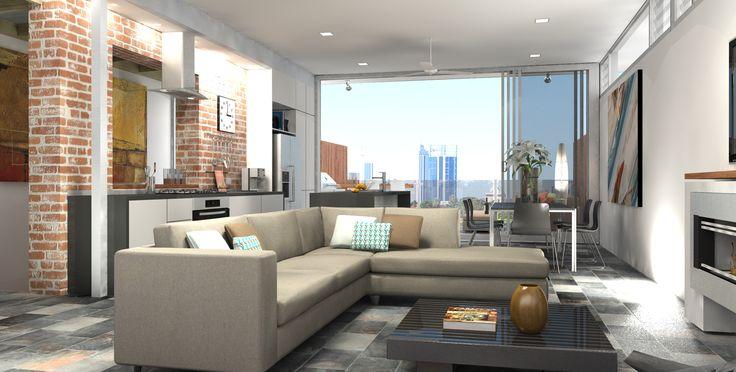 living area with loft like feel