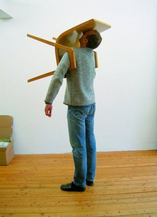 Erwin Wurm, One Minute Sculpture   That's what workin' in a cubical all day will do to you. Ha!
