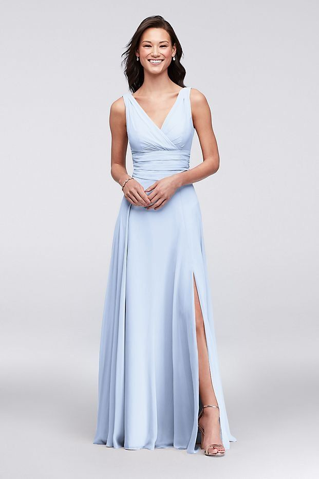d59063677c Surplice Tank Long Chiffon Bridesmaid Dress | David's Bridal | Blue ...