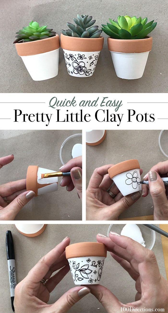 Comment décorer vos propres mini pots en argile avec des dessins dessinés à la main