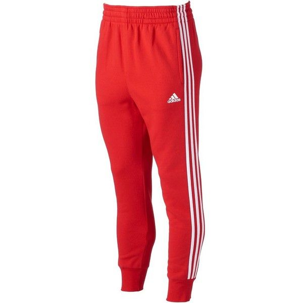 Men\u0027s Adidas Slim 3S Sweatpants ($34) ? liked on Polyvore featuring men\u0027s  fashion, men\u0027s clothing, men\u0027s activewear, men\u0027s activewear pants, scarlet  white, ...