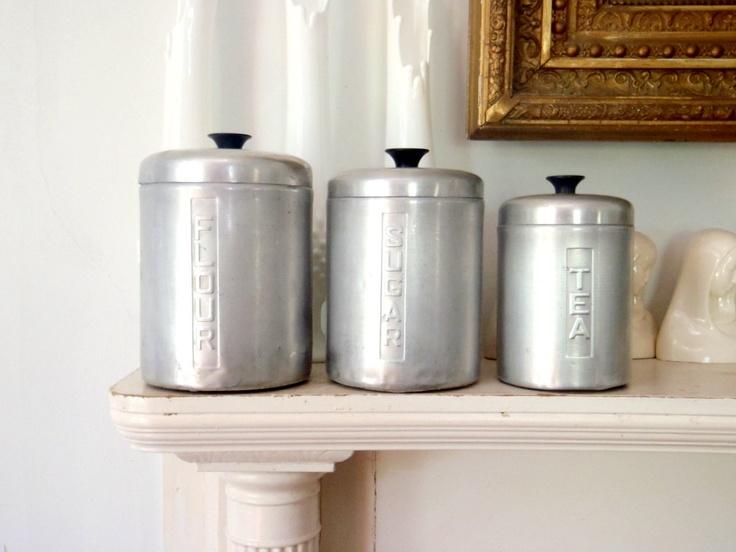 Italian metal kitchen canister set vintage storage tins for Italian kitchen set