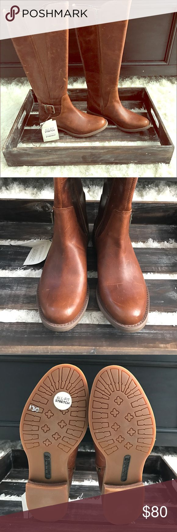 """BRAND NEW TIMBERLAND BOOTS 🎉🎉 PRICE DROP !! Brand NEW gorgeous brown leather Timber Hill Tall Savin boots! Super comfy soft leather and guaranteed """"all fit stretch"""" as seen on tag! 👢❤️ Timberland Shoes"""