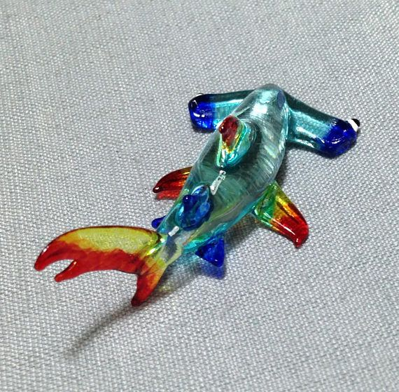 "New 6/"" Hand Blown Art Glass Fish Figurine Sculpture Statue Red Blue Stripes"