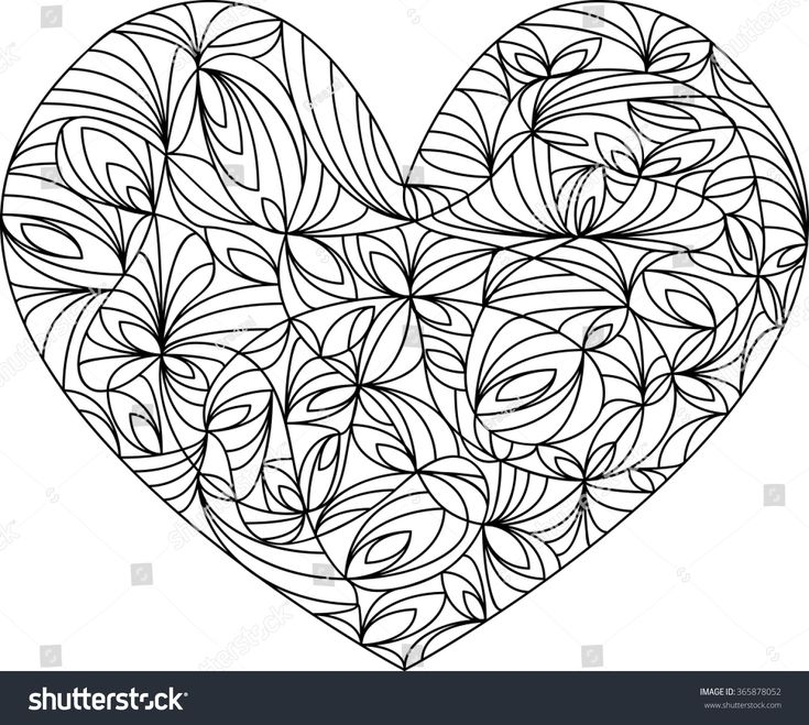 Heart Mandala, adult coloring page, template, vector ...