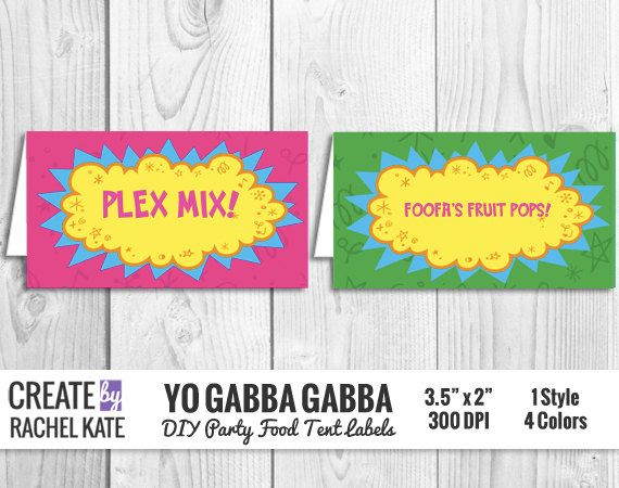 Yo Gabba Gabba DIY Party Food Tent Labels Personalized Editable PDF  sc 1 st  Pinterest & 94 best Yo Gabba Gabba Birthday images on Pinterest | Yo gabba ...