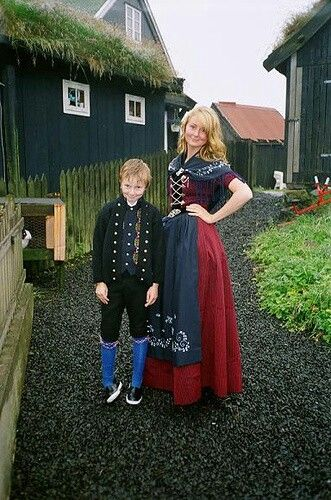 Danish mother and son in traditional dress