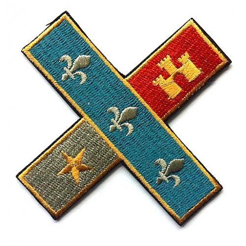 Acadian flag cross patch parish ink louisiana for Tattoo shops lafayette louisiana