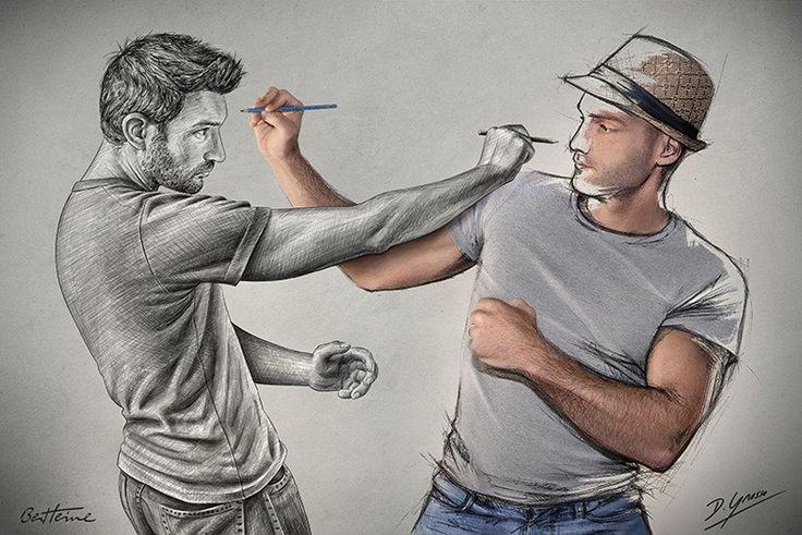 Sketch Fight - Ben Heine (Print)