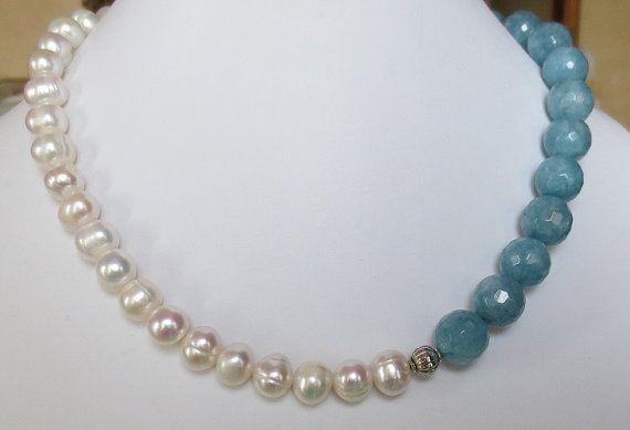 Collana di perle girocollo di angelite collana in di Myspecialgift