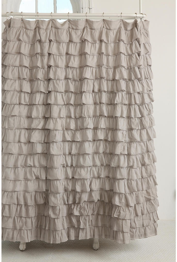 Romantic shower curtain - Romantic Shower Curtain Crafted From Cotton And Topped With Delicate Rows Of Frilly Ruffles Comes Complete With Reinforced Grommets Along The Top