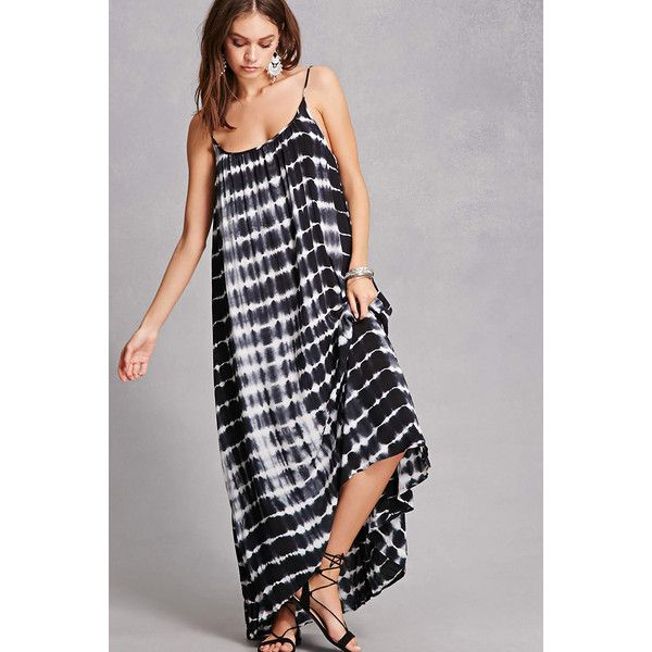 Forever21 Tie-Dye Geo Maxi Dress ($48) ❤ liked on Polyvore featuring dresses, black, high low dresses, hi low maxi dress, tye dye maxi dress, cami dress and spaghetti-strap maxi dresses