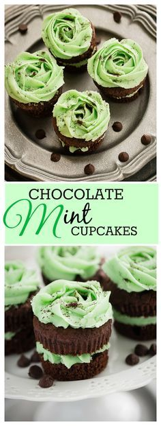 Chocolate Mint Cupcakes are the perfect treat for the holidays.  Soft, fluffy cupcakes with a creamy mint frosting sandwiched in the middle and on top for double the frosting.