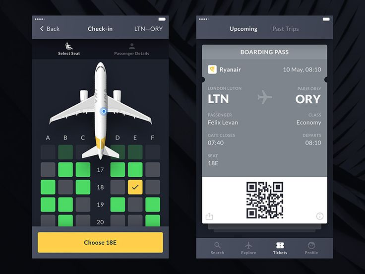 Boarding Pass & Payment Screens
