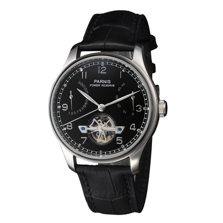 43mm Parnis Wristwatches Black Dial Power Reserve Seagull Automatic Movement Men's Watch Relogio Masculino
