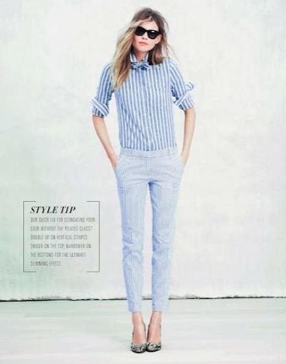 {Stripe linen shirt $79.50, Seersucker Cafe Capris $98, Selima Sun for J.Crew Belle sunglasses $118, Pumps 57046U jcrew.com}