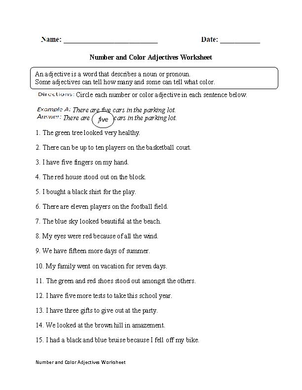 Number And Color Adjectives Worksheet