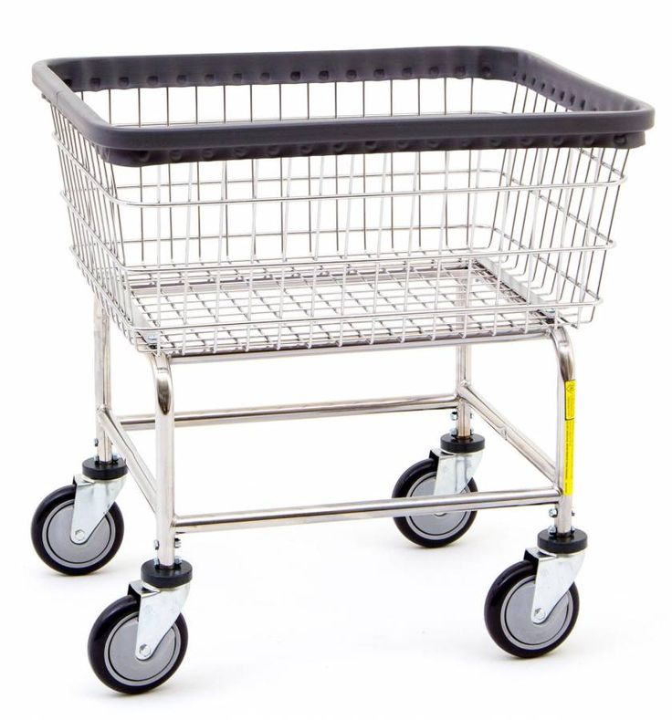 R&B Rolling Narrow Laundry Cart/Chrome Basket P/N 100D Comml Laundry Basket on Wheels
