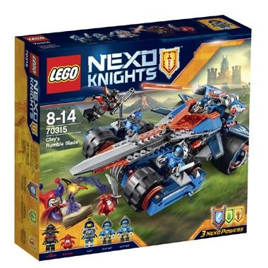 LEGO Nexo Knights Clay's gevechtszwaard 70315  Met Clay's gevechtszwaard ben je helemaal klaar voor actie! Deze LEGO Nexo Knights-set bevat vijf minifiguren. LEGO-nr. 70315  EUR 31.98  Meer informatie