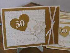 Handgemachte Karte Mit Umschlag 50  Goldene Hochzeit,Einladung ,Danke,Glückwunsch
