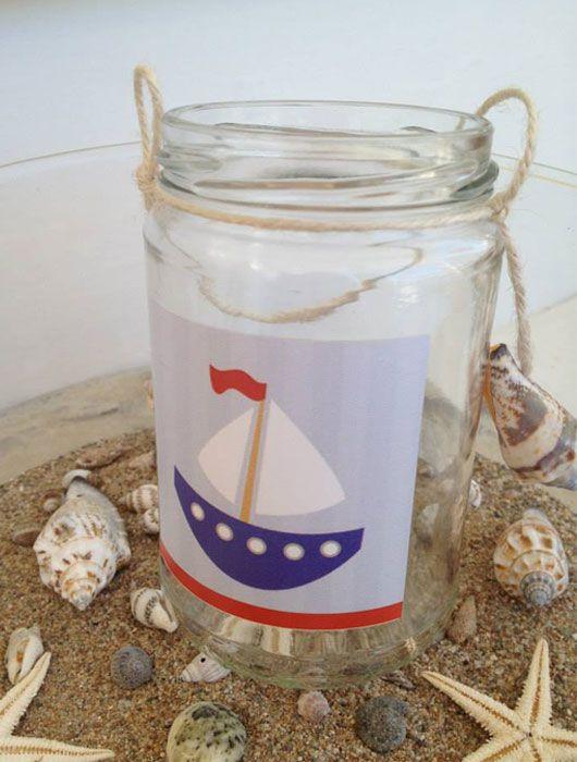 Μπομπονιέρα βάπτισης γυάλινο βάζο με καραβάκι & κοχύλι