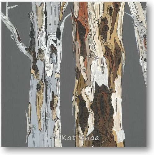 Entry?  LR?  love!!  Art Print Giclee eucalyptus tree art charcoal gray orange tree painting print contemporary artwork