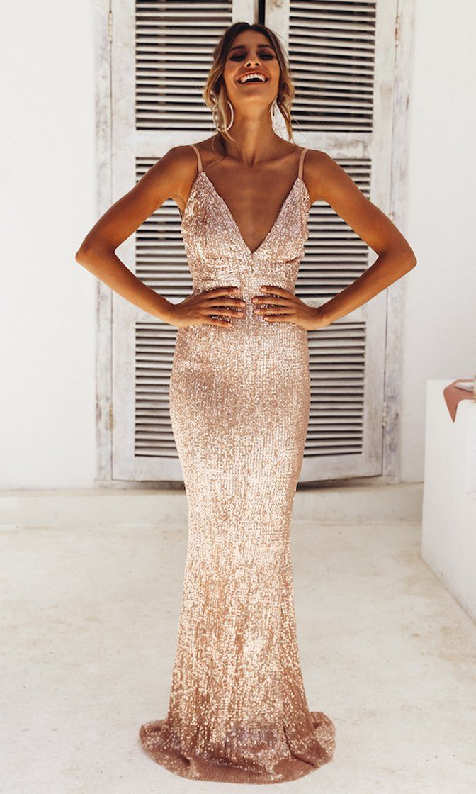 34b7d1fd Fire and Ice Champagne Sequin Sleeveless Spaghetti Strap Plunge V Neck  Backless Maxi Dress Champagne