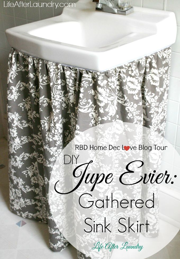 . DIY Gathered Sink Skirt   Sink skirt  Sinks and Tutorials