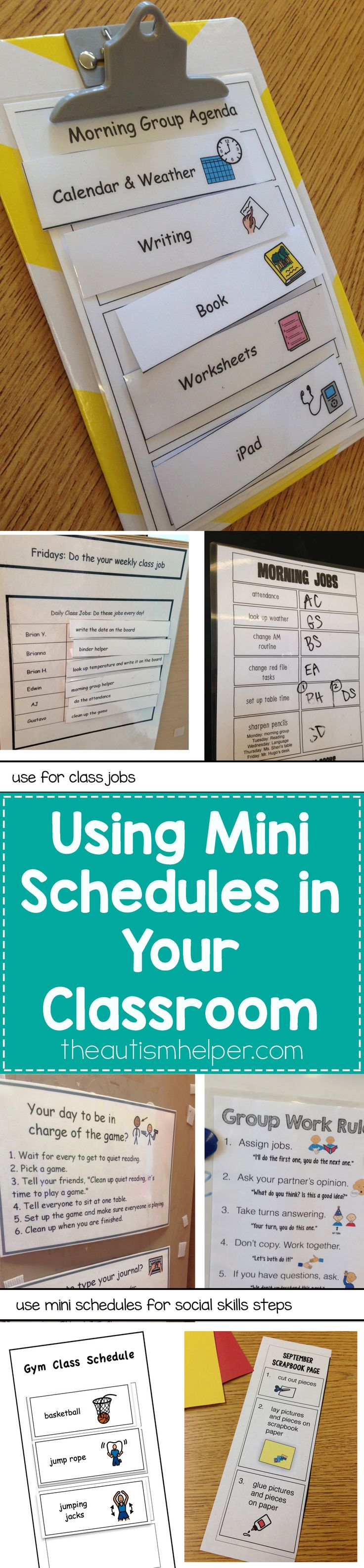 Time to highlight the importance of mini schedules in your classroom. They show embedded steps & routines, help increase independence, & are great for inclusion. Sold yet? From theautismhelper.com