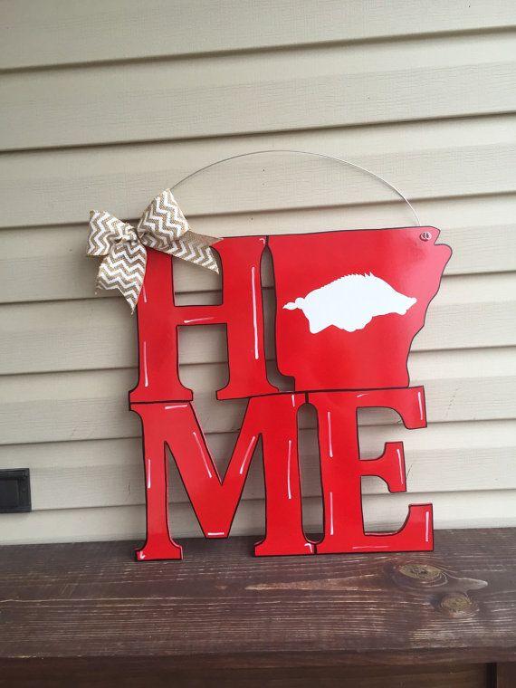 Razorback Arkansas Home Door Hanger by WhimsEchols on Etsy