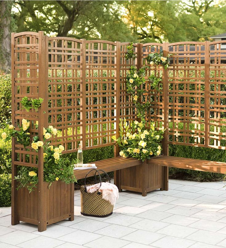 This Outdoor Eucalyptus Privacy Trellis and Square