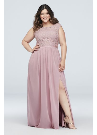b48072a0584 Long Bridesmaid Dress with Lace Bodice F19328