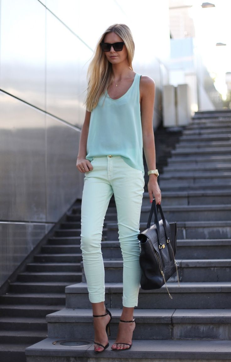 Loose teal tank white cropped jeans. | Outfit Inspo | Pinterest | Pastel Mint and Spring